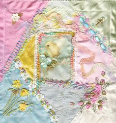 I ❤ crazy quilting & ribbon embroidery . . . Just the sweetest Easter/Spring block ever! Gathering block 2 ~By Crazydolldresser
