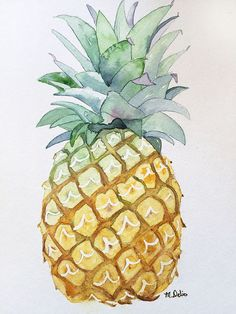 Pineapple Watercolor - Everything About Painting Watercolor Fruit, Watercolour Painting, Painting & Drawing, Pineapple Watercolor, Watercolors, Pineapple Painting, Watercolor Pattern, Painting Inspiration, Art Inspo