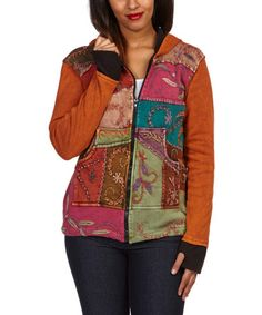 This Orange & Turquoise Patchwork Zip-Up Hoodie by Rising International is perfect! #zulilyfinds