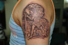 classic style aquarius zodiac tattoo