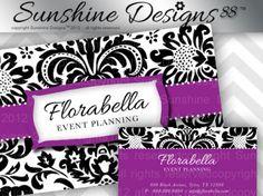 Damask Salon Business Card Purple Floral Flower Instant Download
