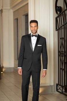 Black Slim Fit 2-Piece 1-Button Peak Tuxedo | Style N18C | For Purchase Only