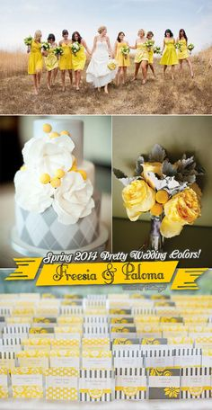 Freesia and yellow weddings ideas and inspiration from bridesmaid dresses to escort cards to wedding cake to bouquets.