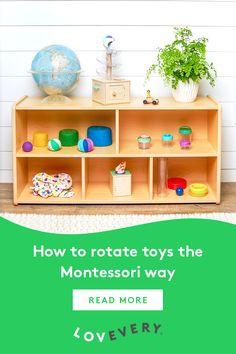 Week Rotating toys the Montessori way = better, deeper play Montessori Playroom, Montessori Toddler, Toddler Play, Preschool Classroom, Toddler Rooms, Preschool Ideas, Kindergarten, Toddler Learning Activities, Montessori Activities