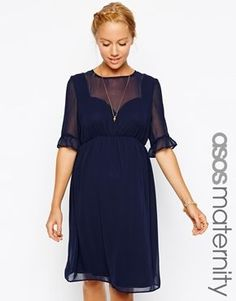 816db50928d0d Enlarge ASOS Maternity Skater Dress In Chiffon With Ruffle Sleeve - #asos  #chiffon #