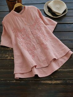 Plus Size Women Embroidered Loose Blouse Ladies Short Sleeve Tunic T Shirt Tops Tunic Blouse, Shirt Blouses, Tunic Tops, Chiffon, Loose Shirts, Linen Shirts, Long Shorts, Short Sleeve Blouse, Long Sleeve