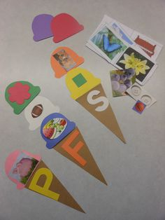 Ice Cream Cone Initial Consonant Sounds There are two options for this activity. Students may choose a letter and write in on the cone. They will cut out pictures that begin with that letter and glue them on the ice cream scoops. They will add a scoop of ice cream for each picture they find. This activity can also be used as a game. The teacher could prepare the materials with letters on the cones and pictures on the ice cream scoops. Students can match the scoops with the correct cone.