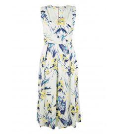Cream Multi Reed Print V Neck Midi Dress - Dresses - Clothing