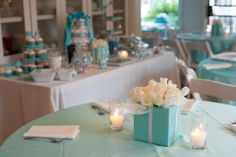 Pretty tables for this pretty Tiffany & Co. Baby shower done by Lala Kares Flowers & Theme Parties in Portland, OR