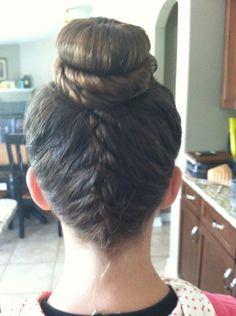 Upside down French braid with a bun