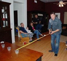 Go the Distance: Taking a tape measure, ping pong ball, and a shot glass. You tr… Go the Distance: Taking a tape measure, ping pong ball, and a shot glass. You try to slide the ping pong ball down the tape measure into the cup. Very tricky! Xmas Games, Holiday Games, Christmas Games, Fun Games, Games To Play, Minute To Win It Games Christmas, Christmas Plays, Kids Christmas, Awesome Games