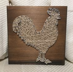 Rooster String Art, Farmhouse, Rustic, Kitchen - order from KiwiStrings on Etsy! www.kiwistrings.etsy.com