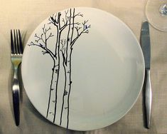 http://www.flickr.com/photos/berdandbee/2105833789/    Hand Painted Tree Place Setting - Service of Six