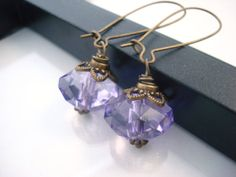 Violet Drop Earrings, Antique Brass Earrings, Vintage Inspired, Crystal Earrings, Tanzanite Earrings on Etsy, $10.00