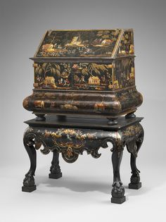 Desk on stand by José Manuel de la Cerda (18th century), lacquered and polychromed wood with painted decoration (on loan from the Hispanic Society of America in NYC, courtesy, Museum of Fine Arts, Boston)