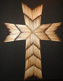 Burnt Matchstick Cross: My Mom made one like this many years ago, still hangs on the wall in Dad's room. He loved it. I'm going to give it a whirl too.