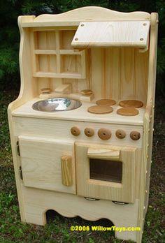 Wood Play Kitchen Set diy play kitchen, green play kitchen, green toys, toy kitchen sets