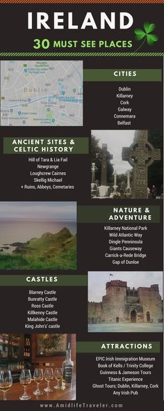 Looking for vacation ideas or planning a great Ireland vacation? Here are 30+ things to see and do for an epic Ireland vacation. #vacationsideas