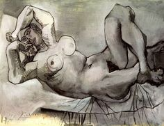 Pablo Picasso. Femme couchee (Dora Maar). 1938 year #mastering #composition #painting #photography http://www.ipoxstudios.com/canon-of-design/