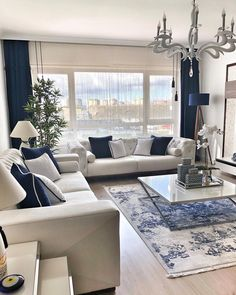9 Best Living Room Lighting Ideas - Home Bigger Blue Living Room Decor, Elegant Living Room, Home Living Room, Living Room Interior, Formal Living Rooms, Dining Rooms, Home Room Design, Home Interior Design, Living Room Designs