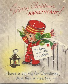 Merry Christmas Sweetheart vintage greeting card with a bellhop. Vintage Christmas Images, Old Fashioned Christmas, Christmas Past, Retro Christmas, Vintage Holiday, Christmas Pictures, Christmas Decor, Purple Christmas, Vintage Images