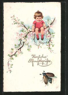 alte AK Pfingstgrüße, Maikäfer und Kind auf Zweig 1927 in Sammeln & Seltenes, Ansichtskarten, Motive | eBay