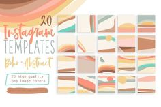 20 INSTAGRAM BOHO ABSTRACT TEMPLATES - Editable in Photoshop and others, inclunding Canva app.Set of 20 Hand drawn Instagram Templates professionally designed to take your Instagram profile to the next level! $18 #sponsored #ad
