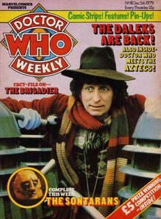 December issue of Doctor Who Weekly comics magazine featuring Tom Baker as the fourth Doctor, surrounded by Daleks, United Kingdom, by Marvel Comics under license from BBC. Dr Who Series, Doctor Who Magazine, Little Britain, Tv Doctors, Dalek, Tardis, Comic Strips, Cover, Comic Books