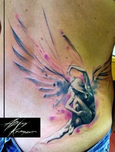 Sitting Angel Aquarelle tattoo by Adam Kremer