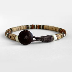 Mens beaded bracelet coco bracelet brown orange by DistinctRemarks
