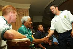 Former Proteas wicketkeeper Mark Boucher and Shaun Pollock with Madiba Nelson Mandela, African History, Cricket, Champion, Cricket Sport