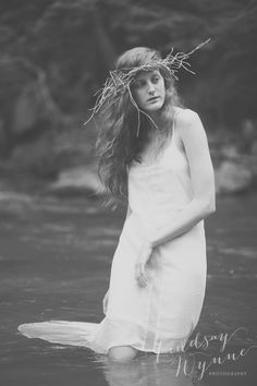 Fine Art Portrait: Casey in the creek - Lindsay Wynne Photography a Charlotte NC Boutique Portrait Photographer