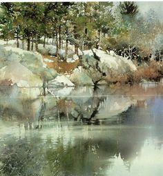 Watercolor painting by Nita Engle Watercolor Water, Watercolor Trees, Watercolor Artists, Watercolor Techniques, Watercolor Landscape, Landscape Art, Landscape Paintings, Watercolor Paintings, Watercolours