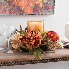Shop all of the harvest decorations offered at Kirkland's this fall! This is your place to find all of the autumn home decor you need for your favorite season! Harvest Decorations, Thanksgiving Decorations, Table Decorations, Thanksgiving Table, Fall Home Decor, Autumn Home, Fall Candle Centerpieces, Silk Flower Centerpieces, Quinceanera Centerpieces