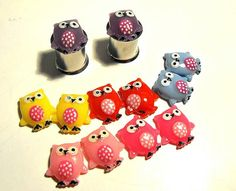 LIMITED EDITION  Owls plugs gauges embedded resin by AreYouStuffed, $22.00