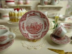 Old Britain Castles Pink  Dollhouse  Plate by Twelvetimesmoreteeny