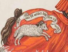 "impresa: charging ram beneath the punning motto: ""Wer mir ist wider/ den stos ich nider"" [He who is against me, him I knock down] ""wider"" means 1) modern wieder, 'against' 2) modern Widder, 'ram' [cf. Eng. 'wether'] -- detail of previous"