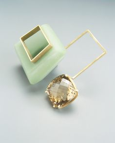 """JANTJE FLEISCHUT-DE/NL brooch 2005 """"w401"""" gold,resin.fiberglass,citrine"""