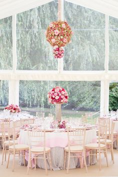 Cotswold, England Wedding from Catherine Mead Photography Reception Table, Wedding Reception Decorations, Wedding Table, Table Decorations, Reception Ideas, Pink Tablecloth, Wedding Wows, Dream Wedding, Floral Chandelier