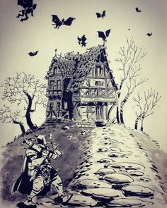 House of the Damned by Ullikummi Gothic Cathedral, Monster Hunter, Fantasy Artwork, Inktober, Storytelling, Concept Art, Around The Worlds, Creatures, Scene