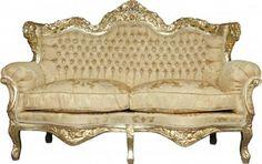 Casa Padrino Barock 2-er Sofa Master Gold Barock Muster/ Gold mit Bling Bling Glitzersteinen Mod3 - Wohnzimmer Couch Möbel Lounge Sofas