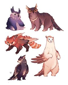 """zestydoesthings: """"The results of the first Creature Feature stream! I had a lot of fun designing Owlbears of various shapes and species. Cheers to for the idea! Cute Fantasy Creatures, Mythical Creatures Art, Mythological Creatures, Mystical Creatures Drawings, Alien Creatures, Cute Creatures, Animal Sketches, Animal Drawings, Cute Drawings"""