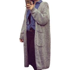 Version coréenne nouvelle hiver chandail femmes long tricoté cardigan chandails…