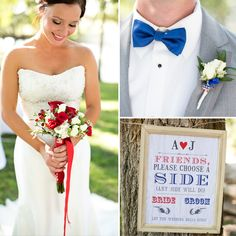 Election Themed Wedding! Red, White, + Blue Details! Cute invitation suite, mini pies, Americana detailing. LOVE IT!