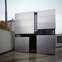 """Boxhome is a small, residential project in Oslo by Norwegian architects Rintala Eggertsson. The 19 square metre dwelling is described by the architects as being """"a peaceful small home, a kind of urban cave"""". It is constructed using a timber frame and is clad in aluminium. Internally, a different species of wood was chosen for More"""