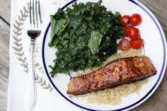 Easy Balsamic Glazed Salmon and Massaged Kale Salad