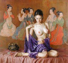 Nacido en 1941, proviene de Yangjiang, provincia de Guangdong en China. Guan comenzó a una edad muy joven con grafito y acuarela, así como la tinta china tradicional. A la edad de quince años, fue reconocido como un prodigio.Se graduó en el Departamento de pintura al óleo de la Academia de Artes de Guangzhou.