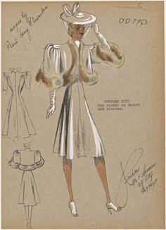 One of hundreds of thousands of free digital items from The New York Public Library. Croquis Fashion, Fashion Sketches, 1940s Fashion, Vintage Fashion, 1930s Costumes, Costume Design Sketch, Fashion Illustration Vintage, Fashion Illustrations, Dress Sketches