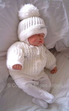 Crochet Dolls Design Angies Angels patterns - exclusive designer knitting and crochet patterns for your precious baby or reborn dolls, handmade, handknitted, baby clothes, reborn doll clothes Baby Cardigan Knitting Pattern Free, Baby Boy Knitting Patterns, Baby Sweater Patterns, Knit Baby Sweaters, Knitted Baby Clothes, Baby Doll Clothes, Baby Patterns, Baby Dolls, Crochet Patterns