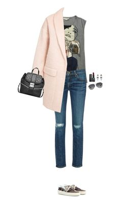 """How to Style a Pink Coat"" by outfitsfortravel ❤ liked on Polyvore featuring STELLA McCARTNEY, rag & bone, Object Collectors Item, Yves Saint Laurent, MICHAEL Michael Kors, NARS Cosmetics and Coach"